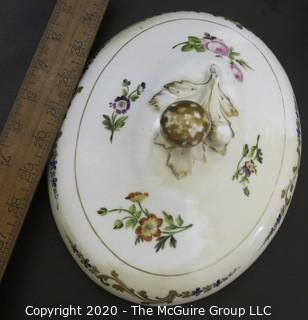 "Set of (3) French 19th Century ""Old Paris"" Porcelain Serving Tureens, Hand Painted with Flowers and Gold Gilt Decoration; largest is 8 1/2W x 15L x 12""tall"