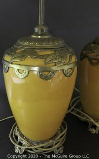 "Pair of Yellow Ceramic Asian Inspired Table Lamps with Brass Accents.  Base Measures Approximately 18"" tall."
