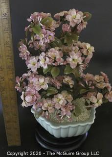 "Vintage Glass ""Jade"" Bonsai Tree with Pink Cherry Blossoms in Pot.  Measures approximately 14"" tall on stand."