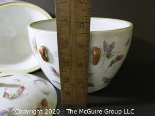 """Antique Asian Porcelain Covered Bowl with Double Lids.  Decorated with Hand Painted Butterflys and Gilt Accents.  Measures approximately 7"""" in Diameter and 4 1/2"""" tall with out lids."""