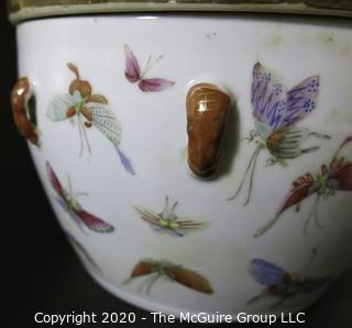 "Antique Asian Porcelain Covered Bowl with Double Lids.  Decorated with Hand Painted Butterflys and Gilt Accents.  Measures approximately 7"" in Diameter and 4 1/2"" tall with out lids."