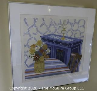 """28 x 30"""" Framed Original Signed Silk Screen Under Glass; with Personal Note From Artist to Recipient."""