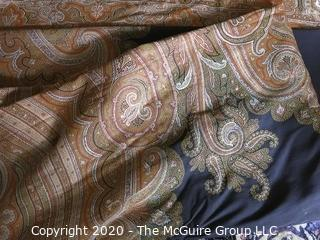 Large Antique Wool Embroidered Shawl with Ornate Edges.