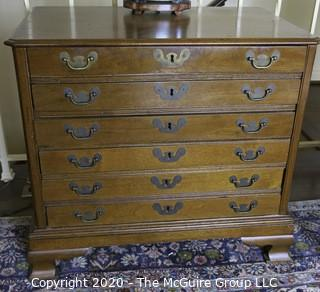 """Antique American 19th Century Oak Six Drawer Spool Chest with Brass Bail Handles.  Measures approximately 26 1/4"""" x 28 1/2"""" x 18 1/4"""""""