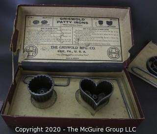 Vintage Griswold Patty Molds 2 Sets (4 Molds) Cast Iron Rosette, Circles, Heart &  Round. In Box.