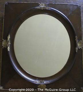 """Pair of French 19th Century Mahogany Famed Mirrors with Gilt Adornment. Measures approximately 24"""" X 22""""."""
