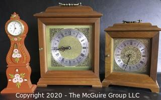 Three Battery Operated Mantel Clocks.
