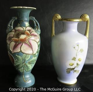 Two Porcelain Hand Painted Urns or Vases. One Marked Nippon Nortake.