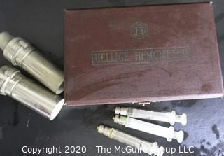 Vintage Hellige Hemometer Meter in Original Case with Three Hypodermic Glass Syringes.