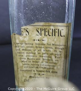 Six Vintage Medical Pharmacy Bottles with Paper Labels.