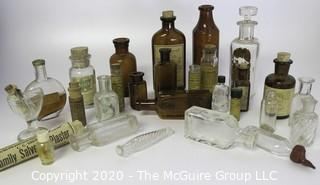 Collection of Antique Medical Bottles, Many with Labels.