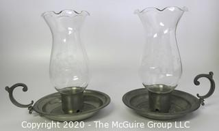 Two Pewter Candle Holders with Handle and Hurricane Glass Shades Made by International Pewter.