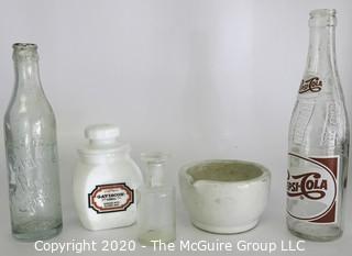 Lot of Clear Glass Bottles, Mortar & Milk Glass Jar.