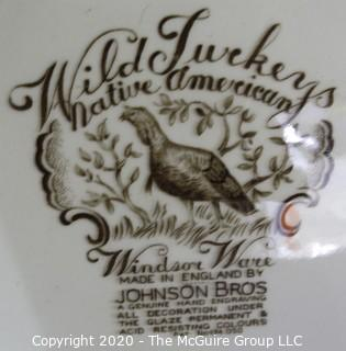 "Johnson Bros Brothers Windsor Ware Native American Wild Turkeys Platter.  Measures approximately 20"" long."