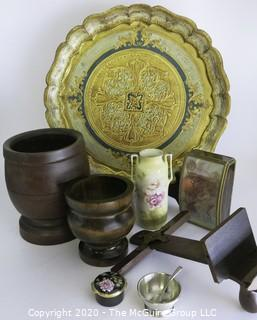 Miscellaneous Lot Including Florentine Tray, Two Wood Jars, Porcelain Vase, Music Box, and Part of Stereoscope.