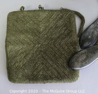 Miscellaneous Group of Items including Hand Mirror, Brush, Beaded Handbag, Weighted Sterling, Shoe Forms and Lamp.