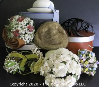 Seven Vintage Ladies Hat and Three Hat Boxes.  Includes Flower, Fur and Velvet Hats.