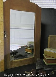 Vintage Bathroom Wall Mounted Cabinet with Mirror, Boxes and Brown Porcelain Door Knobs with Mortise.