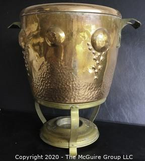 """Antique Large Hammered Copper Lidded Pot with Brass Warming Stand.  Lid has inscription written in German dated 1908.  Measures approximately 10"""" with Stand."""