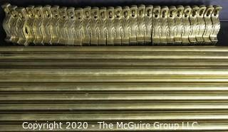 Thirteen Heavy Brass Stair or Tread Rods with Brackets and Pineapple Finials.
