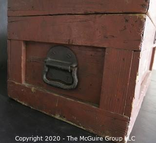 """Primitive Hand Made Red Chest with Latch. Measures approximately 21"""" x 11"""" x 10"""""""