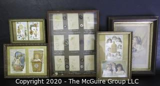 Five Framed Items Included Victorian Trade Cards, Child's Button Collection and Print.