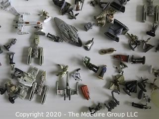 Large Lot of Star Wars Micro Machines Figures with Death Star and Vehicles Including TIE Fighters, Millennium Falcon, Etc.
