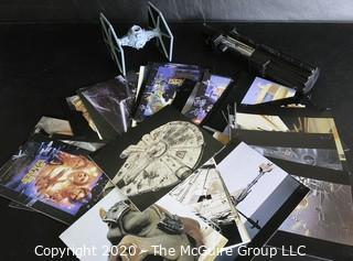 Lot of Star Wars Promotional Postcards, Light Saber and TIE Fighter Micro Machines Galoob.