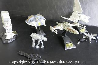 Lot of 4 Star Wars Action Fleet Ships & Stands 1995 L.F.L., Galoob Micro Machine with 2 guns and Smaller At-At Walker.