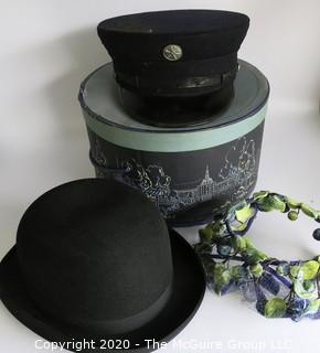 Three Vintage Hats.  Includes Wentworth Forman Wool Volunteer Fireman Uniform Hat. Wool Bowler Hat Made by Christy's of London, and Ladies Silk Floral Hat. Includes Two Hat Boxes.
