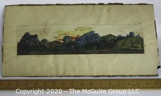 Unframed Signed Watercolor on Paper of Landscape.