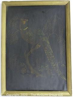 "Gilt Framed Oil on Board of Peacock.  Measures approximately 15"" x 11""."