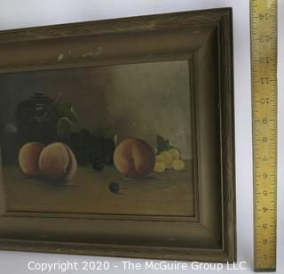 """Framed Oil on Canvas of Fruit on Table.  Measures approximately 19"""" x 14""""."""
