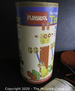 Vintage Playskool Tinker Toy in Container.