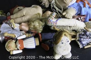 Group of Vintage Stuffed Dolls, Many Handmade.