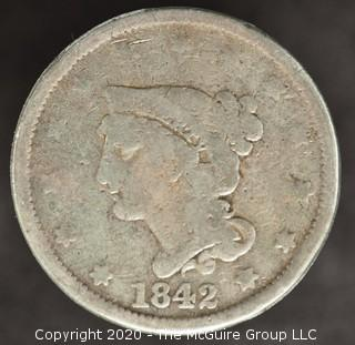 1842 Braided Hair Cent Large Date