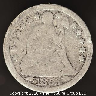 1853 Liberty Seated Dime; Arrows