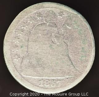 1857 Liberty Seated Dime; No Arrows