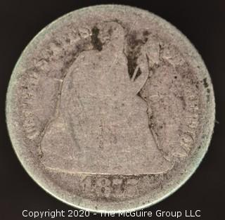 1875 Liberty Seated Dime; Legend Obverse