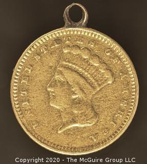 1873 Gold Dollar Indian Princess; Large Head Open 3