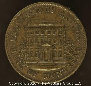 1844 Bank of Montreal Half Penny Bank Token; (Small Trees)