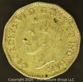 1943 Canadian Five Cent Tombac Coin