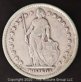 1921-B Swiss 1 Franc; Silver