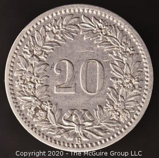 1885-B Swiss 20 Rappen