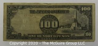 WW II Japanese Issued 100 Pesos Currency Note