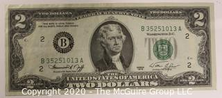 (1) 1963 Red Seal 2 Dollar Currency Note and (5) 1976 2 Dollar Currency Notes