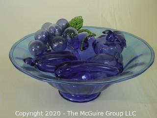 "Blue Mid Century Decorative Hand Blown Glass Fruit in Bowl. Bowl Measures approximately 11"" in diameter."