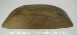 "Long Antique Hand Hewn Primitive Bread or Dough Bowl; 12"" x 25"" x 4 1/2""T"