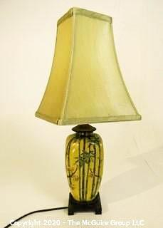 "Small Yellow Asian Inspired Ceramic Table Lamp with Shade.  Measures approximately 25"" tall not including harp."
