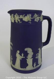 Antique Dark Blue Jasperware Wedgwood Chocolate Pot.